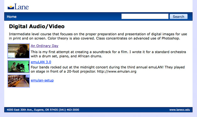 Video descriptions appear in the class homepage as well