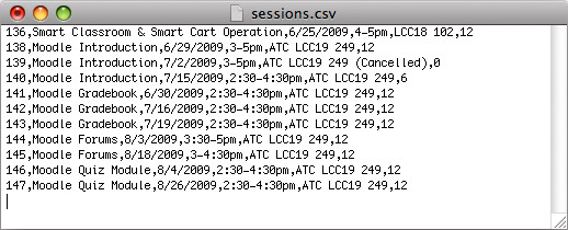 The text file that holds the date and time of each session