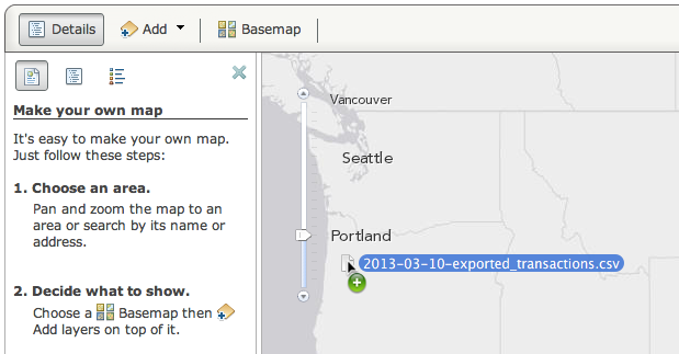 Drag CSV file to the map
