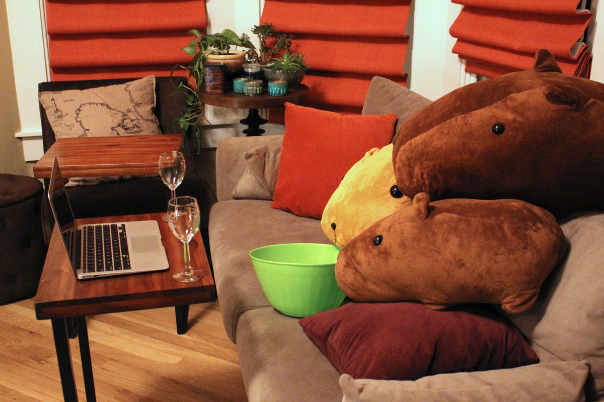Capybaras watching a movie