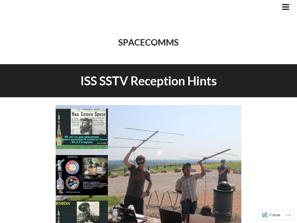 ISS SSTV Reception Hints | spacecomms • Aaron Parecki