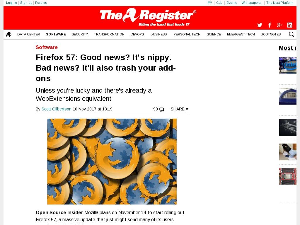 Firefox 57: Good news? It's nippy  Bad news? It'll also trash
