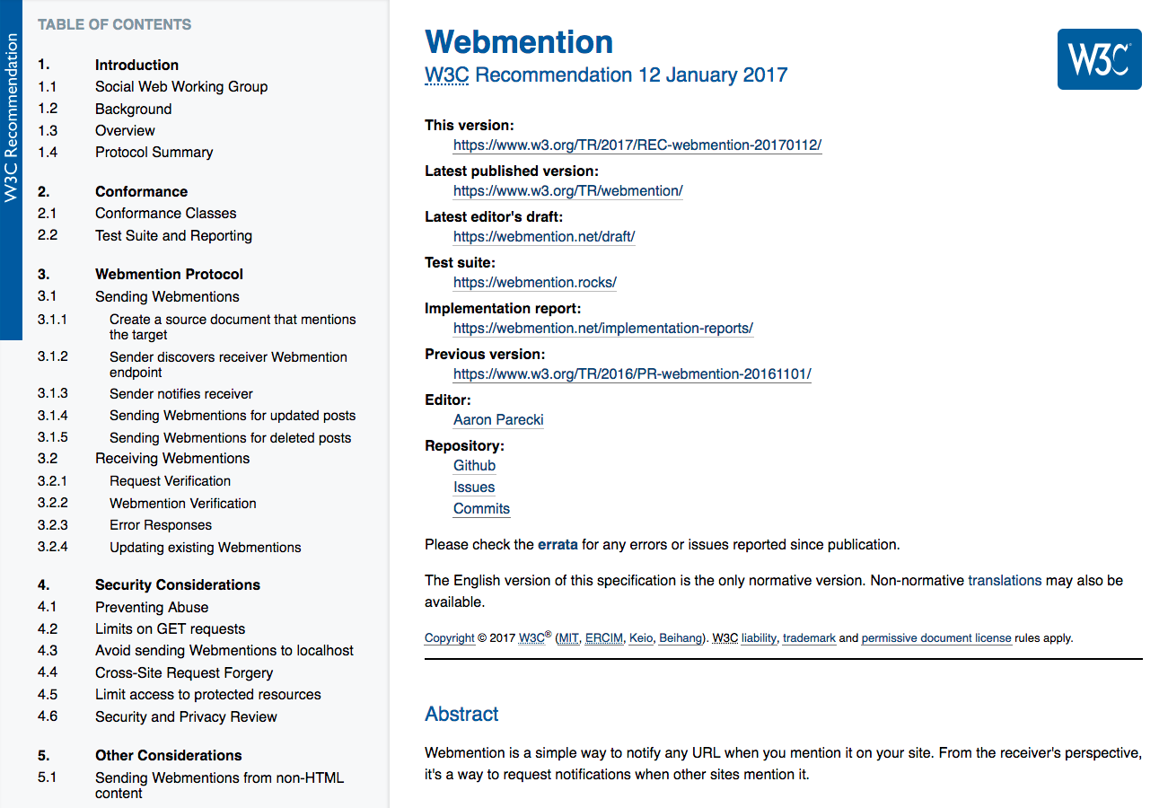 Webmention spec