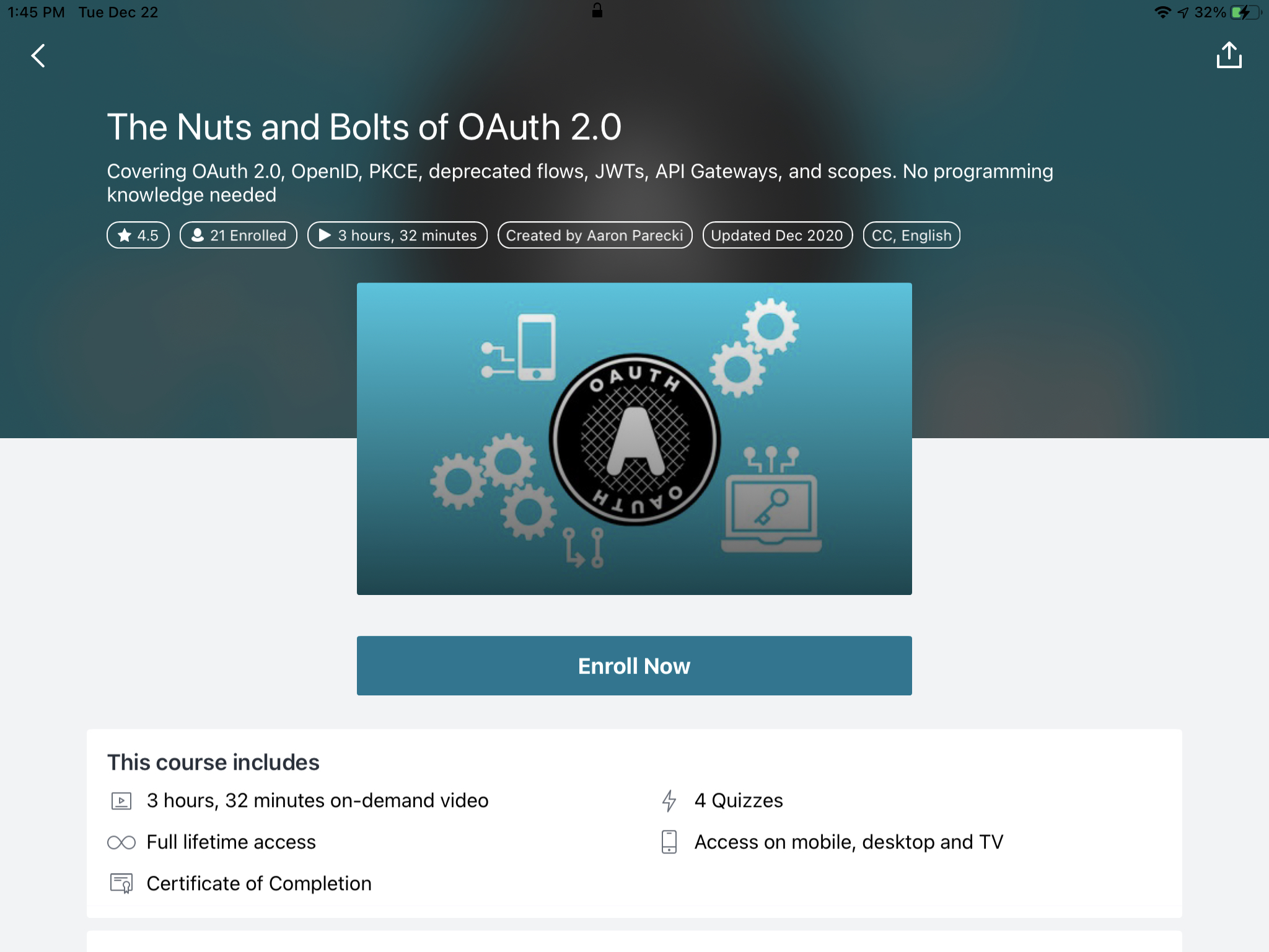 Screenshot of OAuth course on Udemy