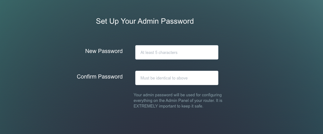 set admin password