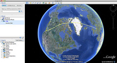 GPS logs of the flight from Amsterdam to Portland in Google Earth